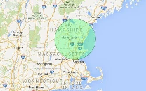 New Hampshire landscaping map service areas shown